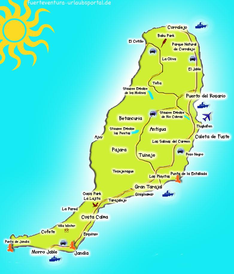 Fuerteventuras Inselkarte Die Lage Der Orte Und Strande