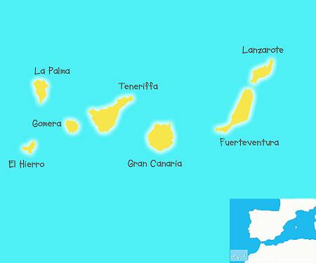 Die Lage Der Insel Fuerteventura Im Atlantik
